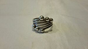 """Sterling Silver 925 ring 6 ball wrap around 8.8g 3 1/8"""" circumference size 9 3/4"""