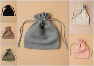 12 Linen Cloth Drawstring Bags, Pouch, Jewellery, Favour, Present, Gift, Lot