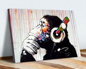 BANKSY  DJ MONKEY COLOURED RAIN CANVAS WALL ART PRINT PICTURE ARTWORK GORILLA