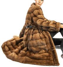 L Nerzmantel Querstreifen Honig Braun Karamell Nerz Pelzmantel striped mink fur