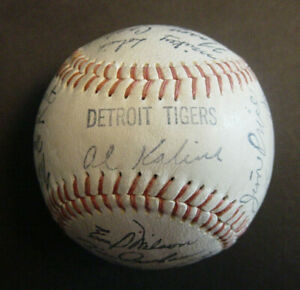 1969 Detroit Tigers Team Autographed Baseball Facsimile Signed Stamped 26 Player