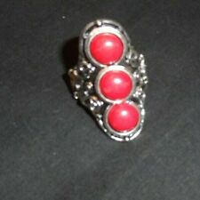 Great 3 red stones silver stretch back ring adjustable NWOT