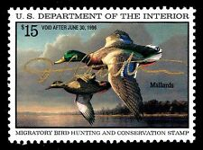 RW62 FEDERAL DUCK STAMP, SIGNED IN GOLD BY ARTIST JAMES HAUTMAN - OGNH