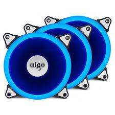 3PCS Aigo  Blue Halo LED 120mm PC Computer Case Cooling Quite Clear Fan Mod