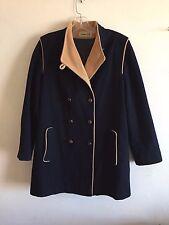 Herman Kay Wool Coat Double Breasted Lined Navy Vintage Women's Medium