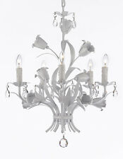 Floral ITALY TOLE crystal prisms 5 light SOLID White finish Chandelier PLUG OPT