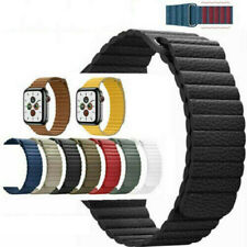 For Apple Watch Band Series 6 5 4 3 2 1 SE 42 44mm Magnetic Leather Loop Strap
