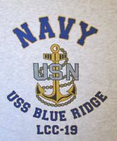 USS BLUE RIDGE  LCC-19* COMMAND SHIP* U.S NAVY W/ ANCHOR* SHIRT
