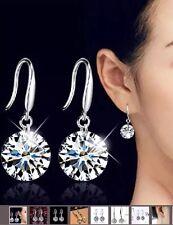 Stirling Silver 8mm Round Crystal Drop Dangle Elegant Earrings Womens Ladies
