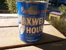 Vintage MAXWELL HOUSE Coffee Tin 16 oz Regular Grind Blue Coffee Can Empty