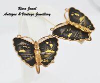 VINTAGE SHAKUDO EARRINGS BEAUTIFUL TRADITIONAL BUTTERFLIES JAPANESE 24K GOLD