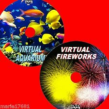 VIRTUAL AQUARIUM AND FIREWORKS GREAT 2 DVD VIDEOS VIEW ON FLATSCREEN TV/PC NEW