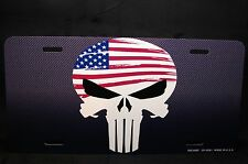 PUNISHER SKULL LICENSE PLATE TAG FOR CARS SUVS CARBON FIBER LOOK BACKGROUND...