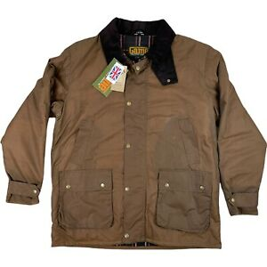 GAME Men's Wax Cotton Jacket British Made Dark Drown Size Large Padded