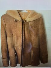 Vintage Shearling Sheepskin Jacket Coat Fully Lined Hood Zip Front Neck Button