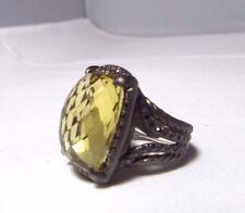 David Yurman Blacken SS Lemon Citrine & Black Diamond Chatelaine Ring Size 6.75