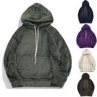 Men Winter Casual Hoodie Warm Pullover Fluffy Fleece Sweatshirt Hooded Coat Tops