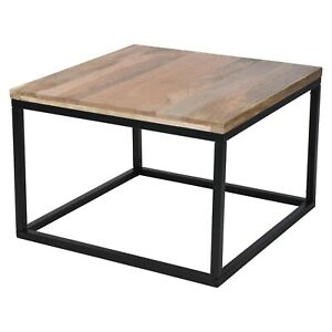 Wooden Top Square Industrial Coffee & Tea Side Table With Metal Frame Home Decor