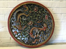 Antique Chinese Qing / Republic Polychrome Wood Carving w/ Phoenix & Dragon Dec.
