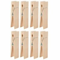 Juvale Wooden Large Clothespins - 8-Pack Jumbo Unfinished Wooden Clips, Big