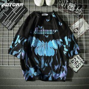 Blue Butterfly t Shirt Men Hip Hop Short Sleeve Casual Tops Streetwear