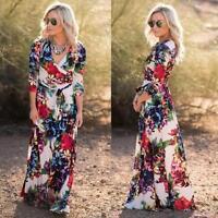 Mujer Boho Floral Vestido Largo Maxi Noche Fiesta Playa de verano