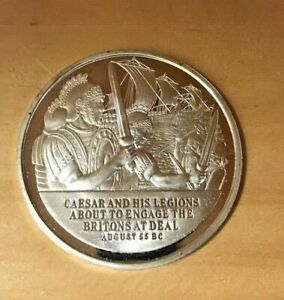 History of English Speaking People Sterling Silver Coin - Julius Caesar Lands #1
