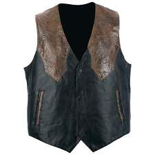 NWT Mens Brown Black Leather Motorcycle Vest Western Tour Travel M L XL 2X 3X 4X