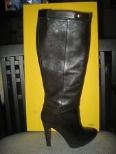 FENDI 110 Knee High Tall Platform Leather Boots Dark Brown 36.5  EU