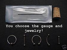 Custom Piercing Kit YOU CHOOSE JEWELRY & GAUGE! 12g-18g