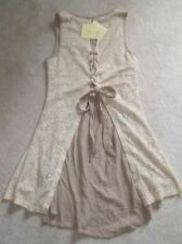 Nwt A'reve CREAM EMBROIDERED Ties DRESS  A reve Areve bohemian Anthropologie