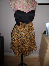 PEACOCK FEATHER PRINT DRESS SIZE 8 IDEAL FOR A WEDDING OR PARTY NEW