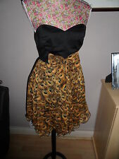 LOVELY DRESS WITH PEACOCK FEATHERS PRINT SIZE 8 IDEAL FOR A WEDDING ETC  NEW
