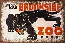 Brookside Zoo Advert Vintage Retro style Metal Sign, black panther, animal