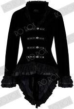 Womens Velvet Victorian Steampunk Gothic Dressage Tailcoat Corset Back Jacket