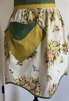 Vintage ladies handmade cotton green cream yellow half apron & pocket Unique!