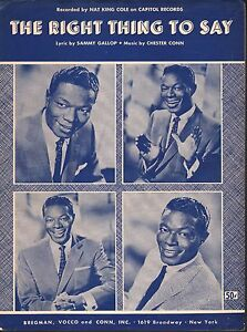 Right Thing To Say 1962 Nat King Cole Sheet Music Sheet Music