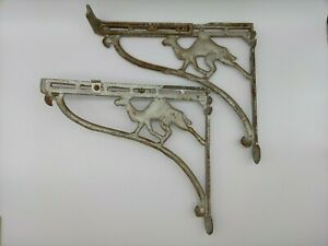 Antique Architectural Industrial Extra Large Cast Iron Camel Shelf Brackets Old