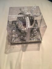 Silver Sparkly Christmas Candle Holder Decoration