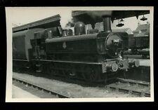 Railway British Rail steam loco engine 7407 + train Swindon RP plain back 1954