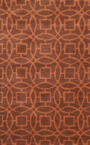 Geometric Brown/ Orange Modern Oriental Area Rug Hand-Tufted Wool Carpet 3x5 ft
