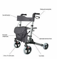City Walker Lightweight Folding Rollator With Seat - 4 Wheel Walking Aid Roma
