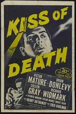 THE KISS OF DEATH Movie POSTER 27x40 B Victor Mature Brian Donlevy Coleen Gray