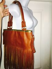 Steve Madden Fringe Cognac Brown Gold Braid Handles Purse Handbag Boho Gypsy Hip