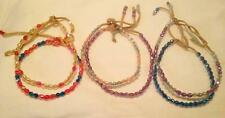 2 LEATHER ANKLETS WITH MIXED COLORED BEADS #382 ankle bracelets beaded anklet