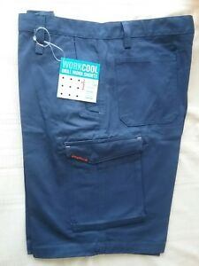 King Gee men's drill work cargo shorts size 102R Work Cool navy NWT