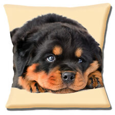 Lindo Rottweiler Cachorro Funda de cojín 40.6x40.6cm 40cm Marrón Negro