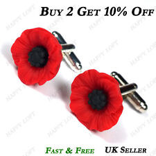 GORGEOUS PRETTY POPPY RED POPPIES CUFFLINKS MENS GROOM BEST MAN REMEMBRANCE GIFT