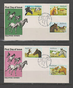 Philippine Stamps 1985 Horses set on First Day Cover