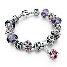 Charm Silver Plated Purple & Pink Glass Beads Bracelet Bangles Birthday Gift